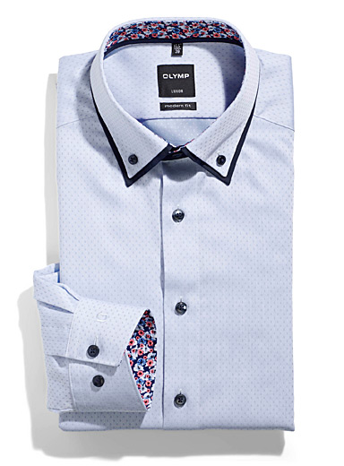 Double collar geometric jacquard shirt  Modern fit