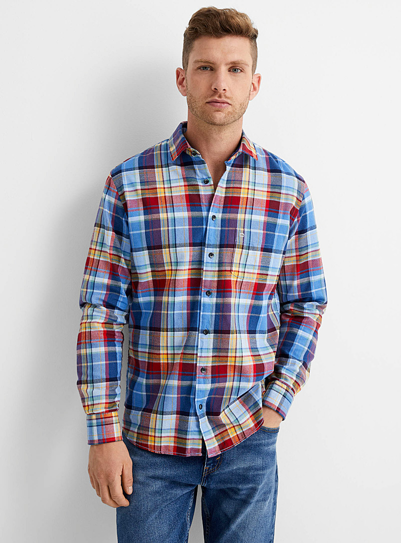 Olymp Blue Accent check flannel shirt Modern fit for men
