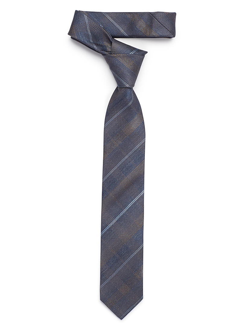 Checkered chambray tie - Skinny Ties - Brown