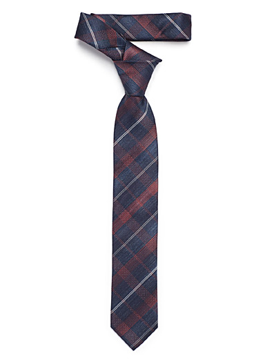 Checkered chambray tie