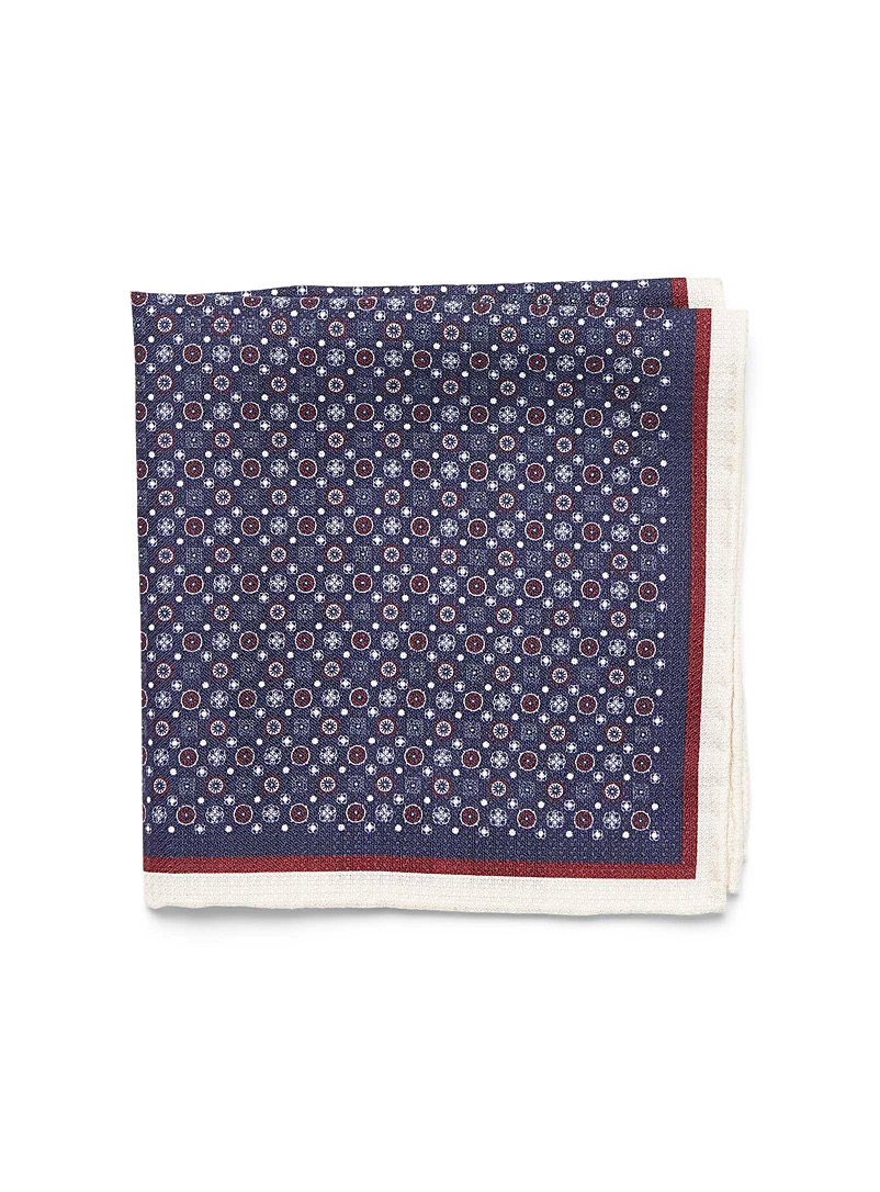 Two-tone medallion pocket square - Pocket Squares & Scarves - Ruby Red