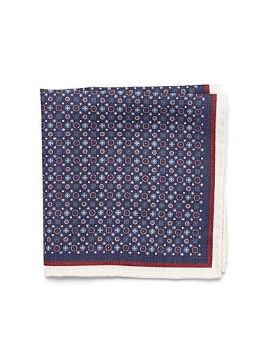 Two-tone medallion pocket square