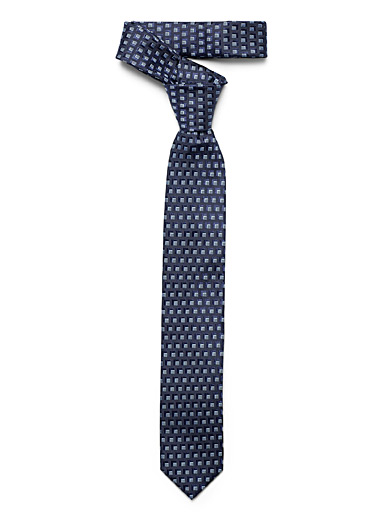 Olymp Marine Blue Tone-on-tone cubes tie for men