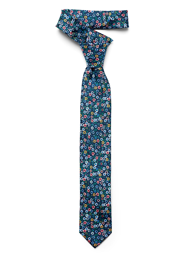 Olymp Marine Blue Wildflower tie for men