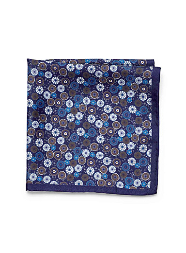 Indigo medallion pocket square