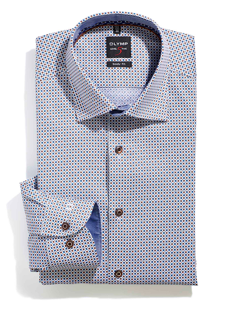 Olymp White Twin dot shirt  Modern fit for men