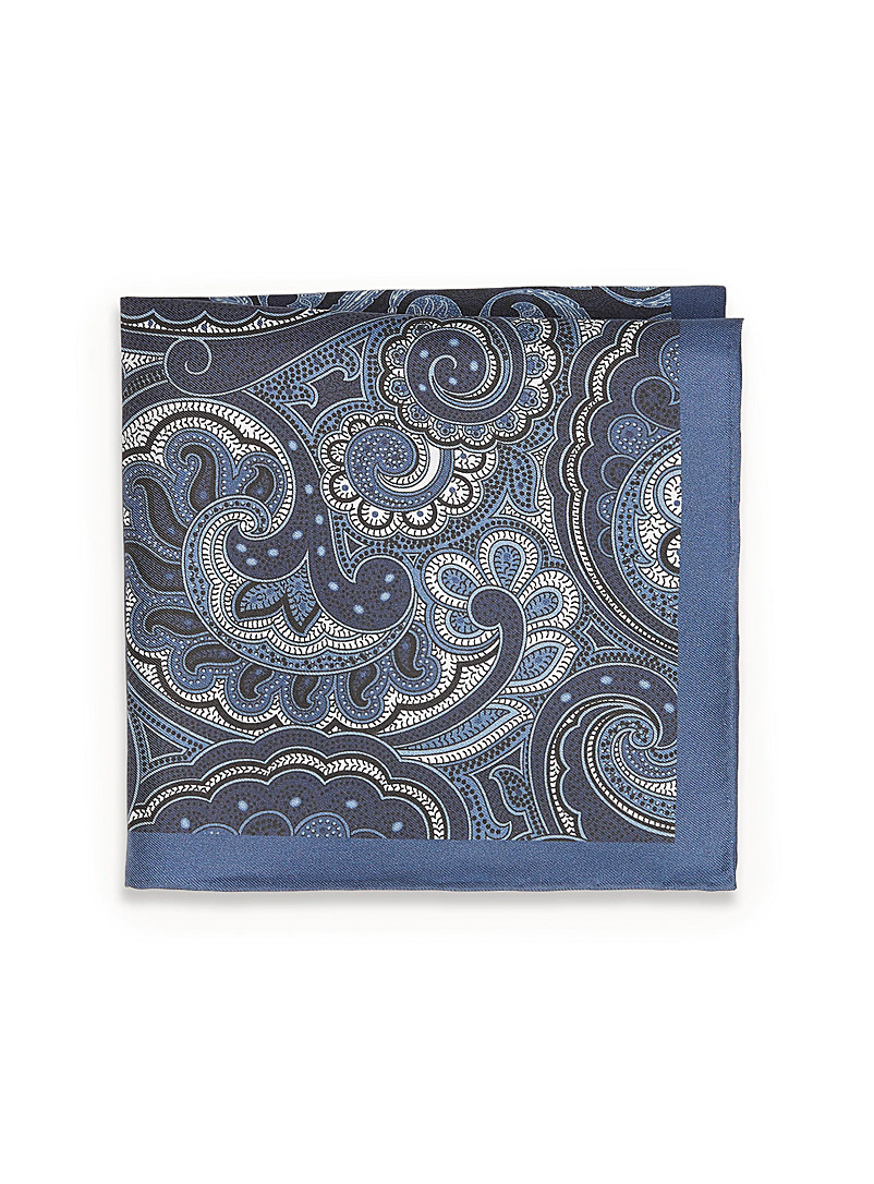 Olymp Black 2-in-1 dotted paisley pocket square for men