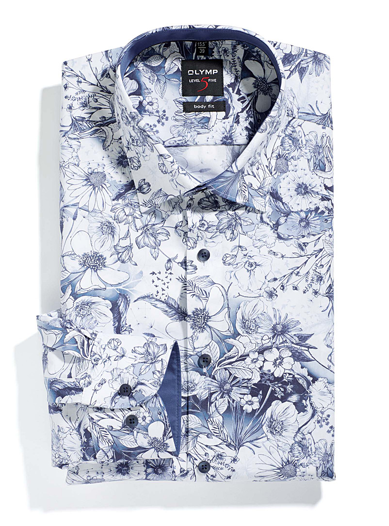 Traced indigo flowers shirt  Semi-tailored fit - Semi-tailored fit - Patterned Blue
