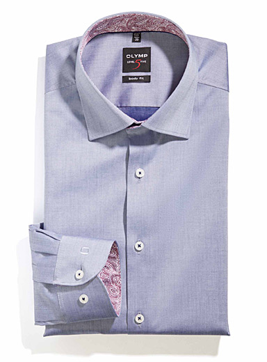 Paisley-underside chambray shirt  Semi-tailored fit