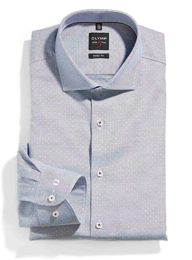 Dotted chambray jacquard shirt  Slim fit - Modern Fit - Blue