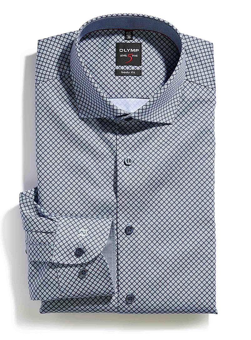 Indigo diamond mosaic shirt  Slim fit - Modern Fit - Blue