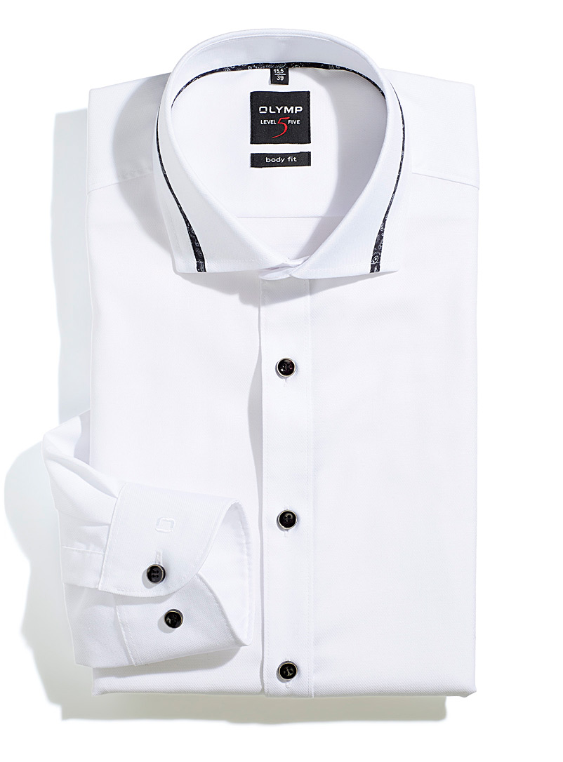 Olymp White Trimmed-collar white shirt  Modern fit for men