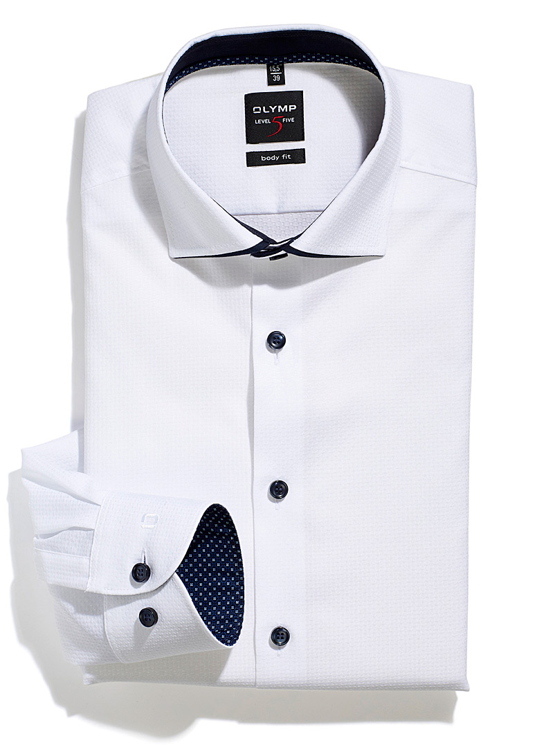 Olymp White Trimmed-collar white piqué shirt Modern fit for men