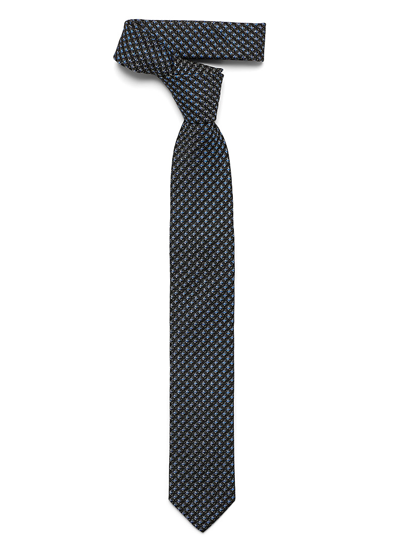 Olymp Blue Heathered blue check tie for men