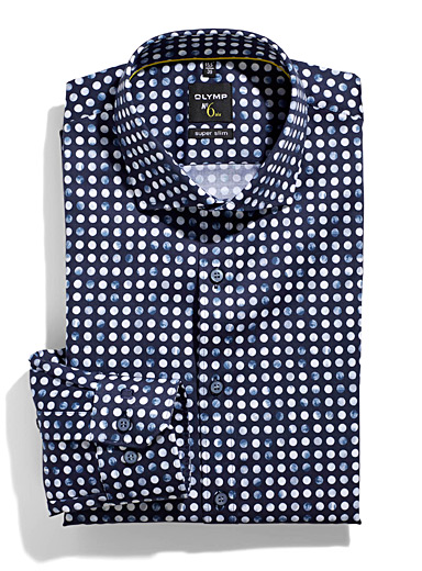 Olymp Marine Blue Marble dot shirt  Slim fit for men