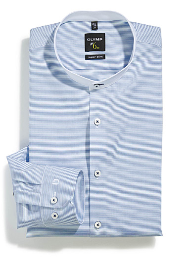 Horizontal stripe officer collar shirt <br>Tailored fit
