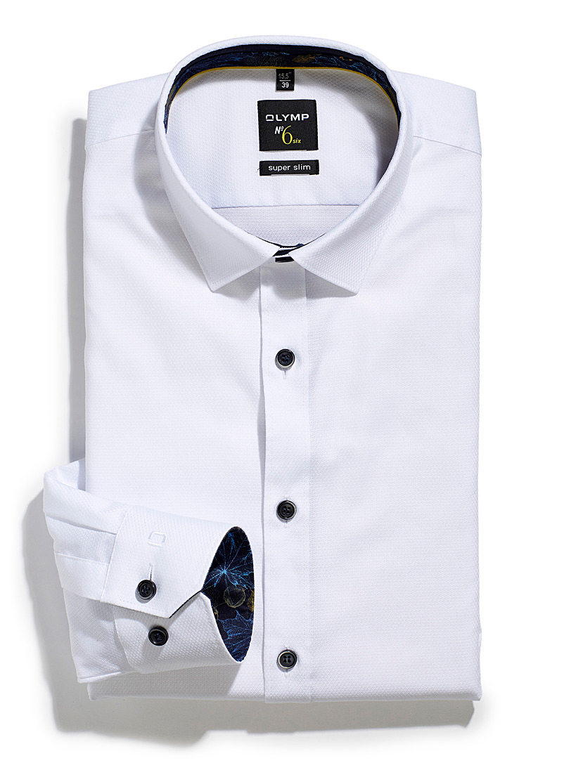 Olymp White Honeycomb piqué white shirt Slim fit for men