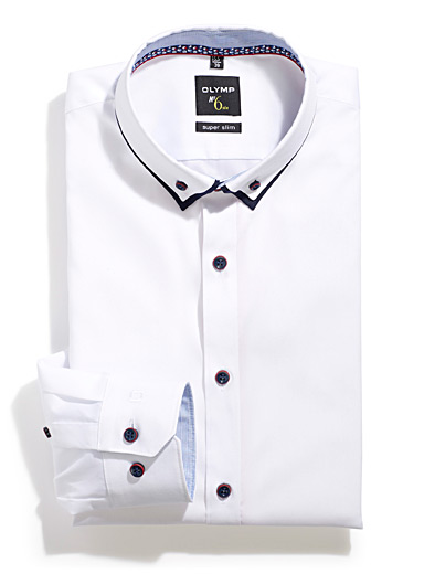 Double collar white shirt <br>Slim fit