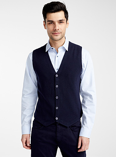 Olymp Marine Blue Patterned poplin-back vest for men