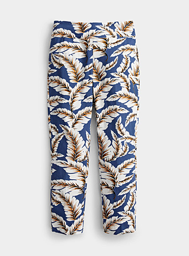 Up! Patterned Blue Elegant foliage slimming pant for women