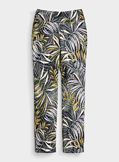 Up! Patterned Green Tropical foliage slimming pant for women