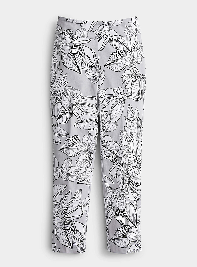 Up! Grey Timeless floral slimming pant for women