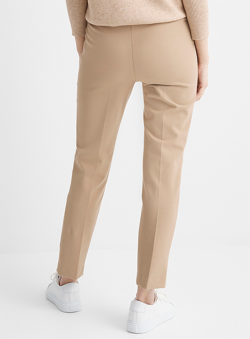 Up! Cream Beige Stretch twill slimming pant for women
