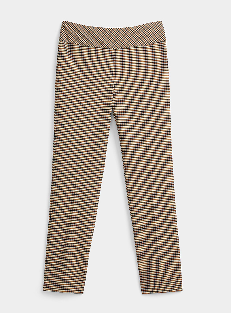 Caramel check slimming pant
