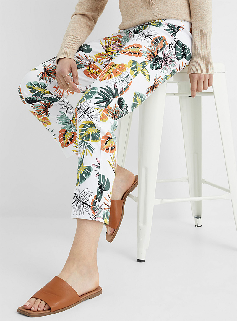 Up! Patterned White Tropical island slimming pant for women