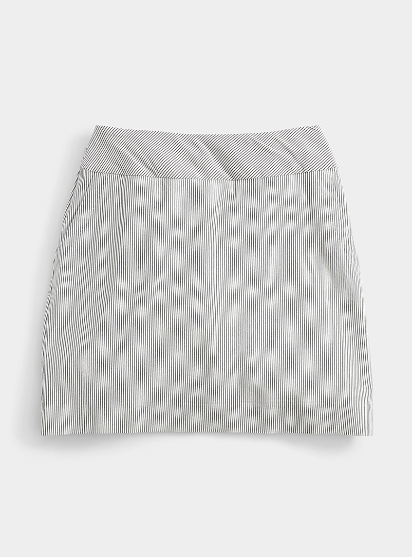 Up! Grey Fine stripe slimming skort for women