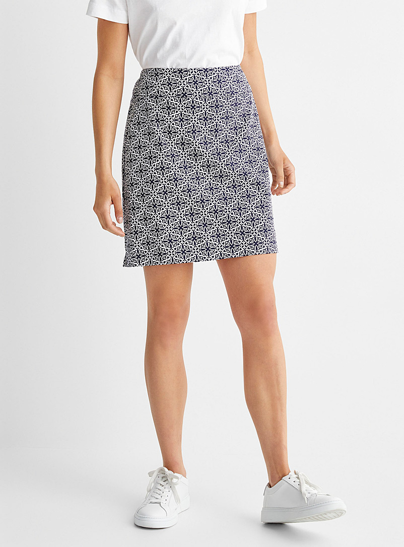 Up! Patterned Blue Contrast mosaic slimming skort for women