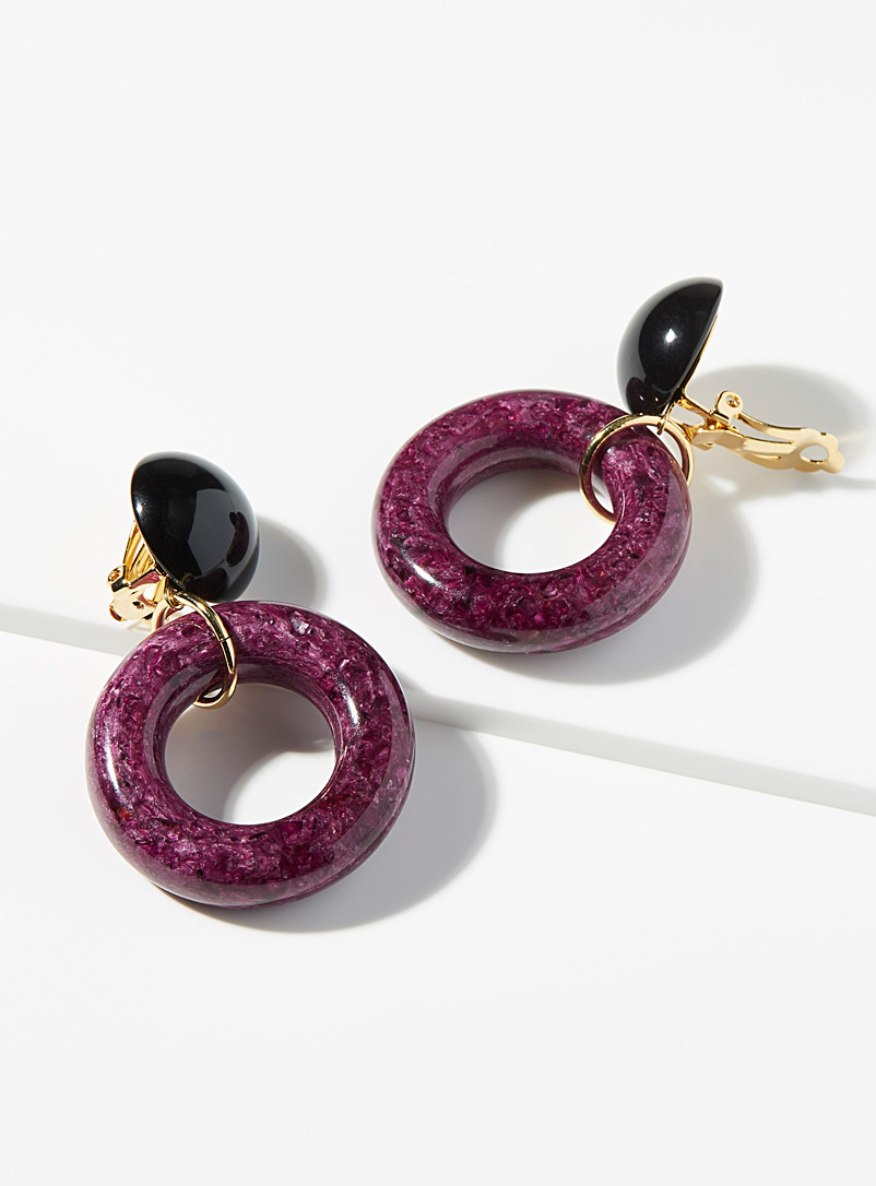 Francine Bramli Patterned Crimson Vanille long earrings for women