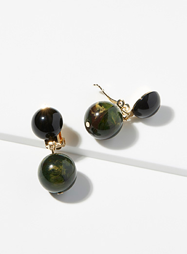 English green sphere earrings