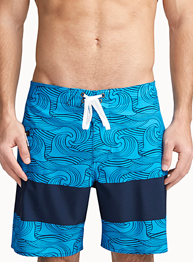 Printed colours block swim trunk