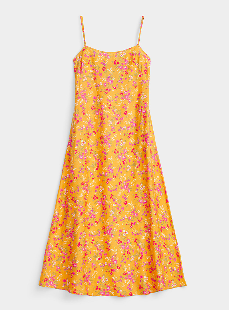 Marit Ilison Golden Yellow Floral painting slip dress for women