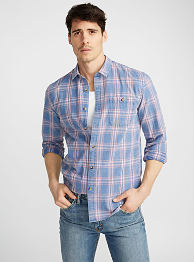 Checkered denim shirt  Semi-tailored fit