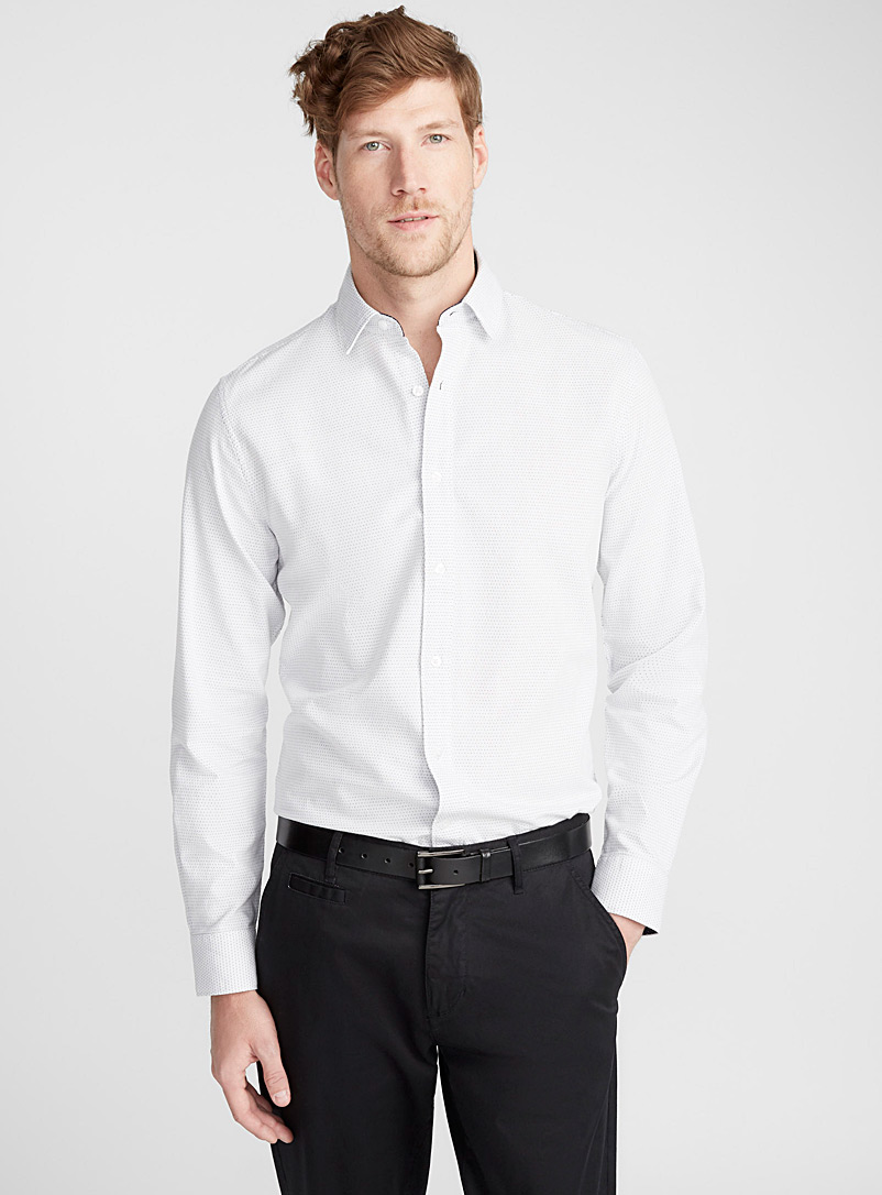 Le 31 White Piqué dot organic cotton shirt  Modern fit for men