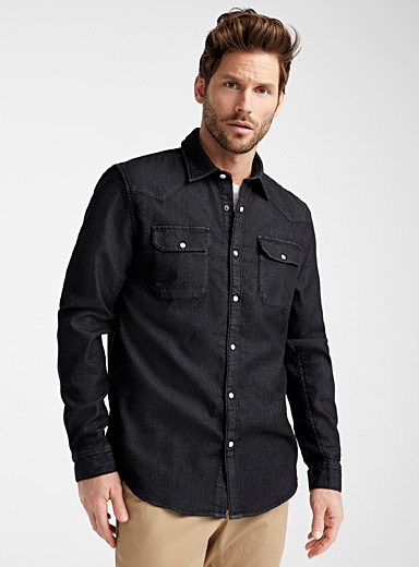 Sweatshirt-lined denim shirt <br>Modern fit
