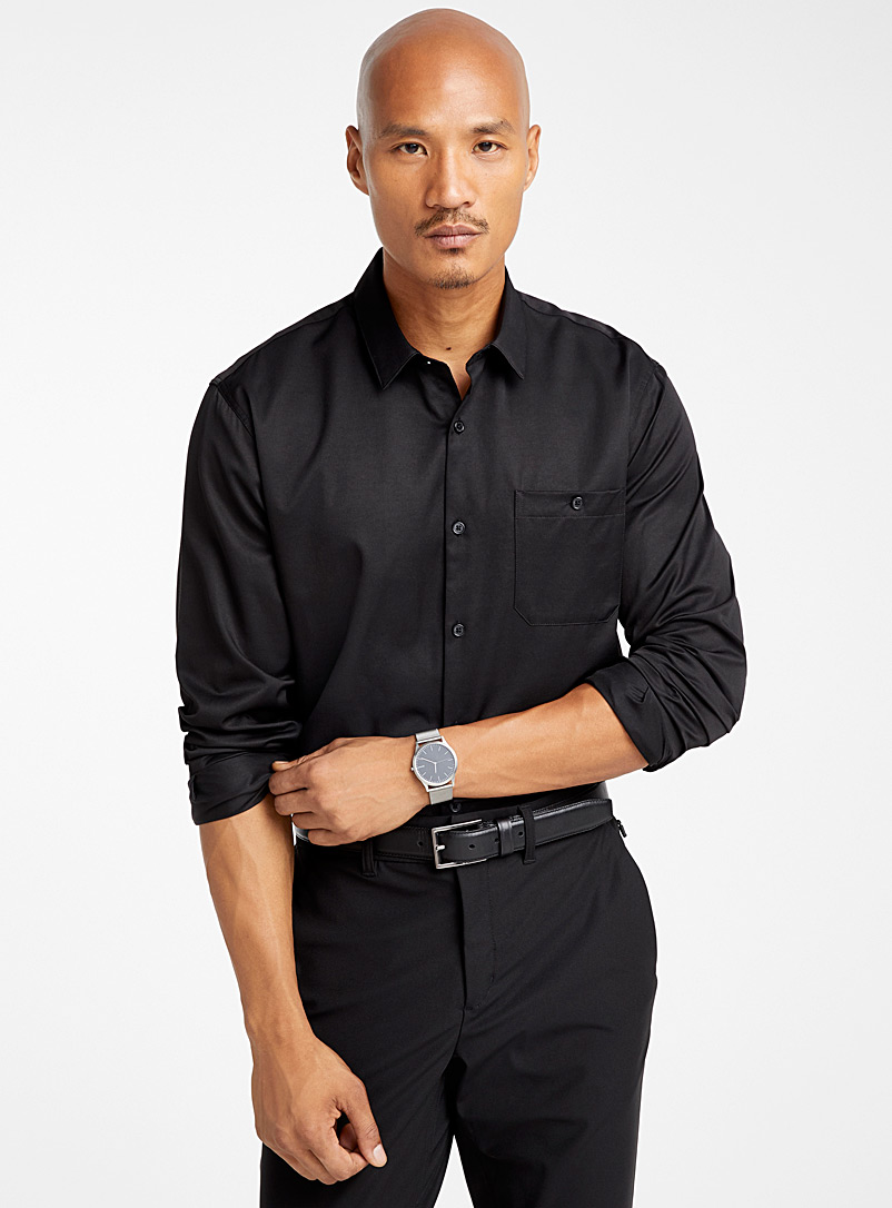 Le 31 Black Performance shirt  Comfort fit for men