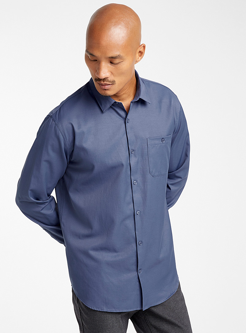 Performance Traveller shirt  Comfort fit - Solid - Blue