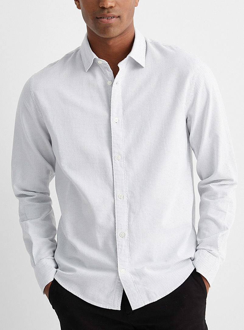 Le 31 White Jacquard dots shirt  Untucked fit for men