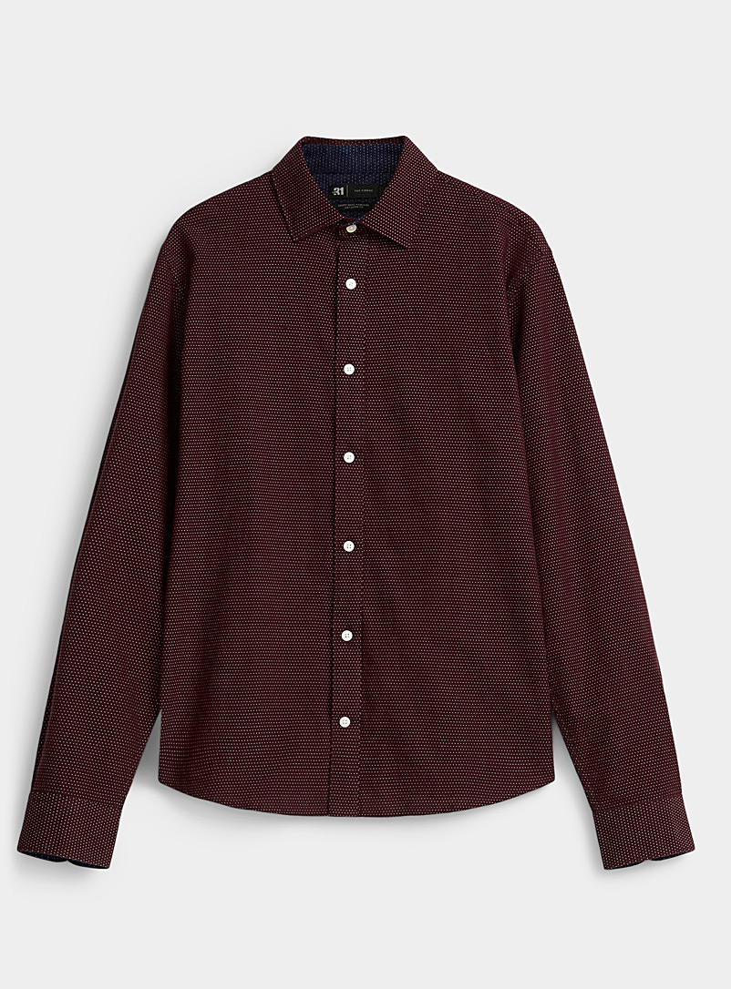 Le 31 Dark Crimson Jacquard dots shirt  Untucked fit for men