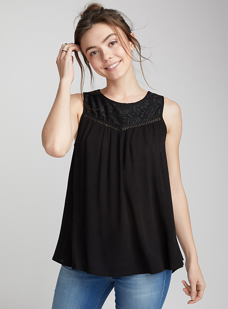 Fluid and flowy lace blouse - Fluid - Black