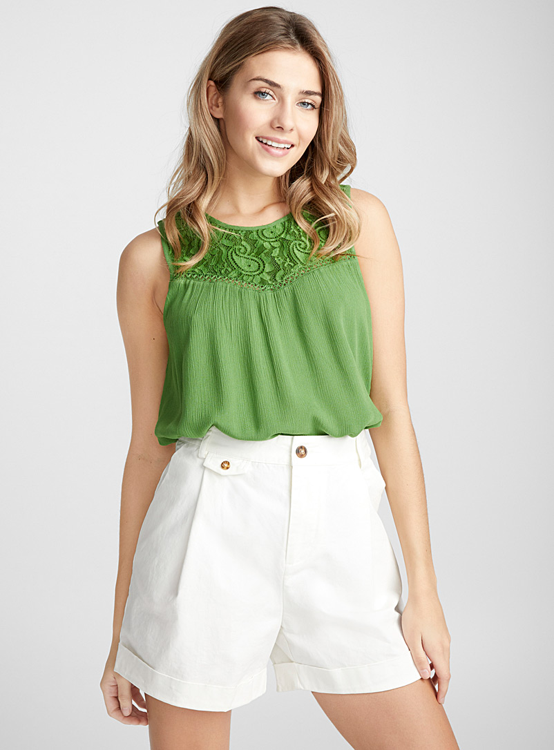 Fluid and flowy lace blouse - Blouses - Green