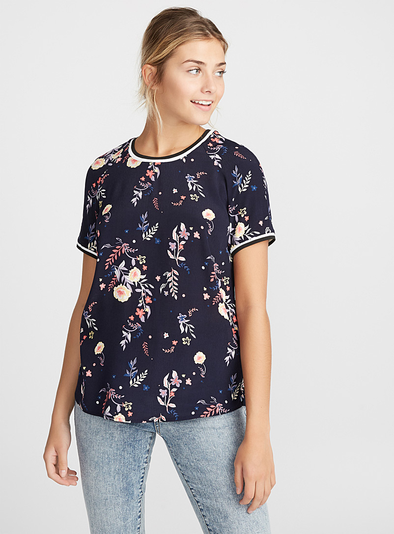 Sporty embroidered blouse - Casual - Marine Blue