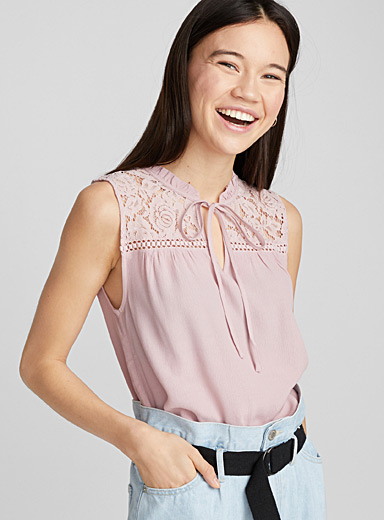 Lace and ruffle blouse