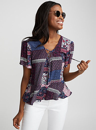 Laced printed blouse