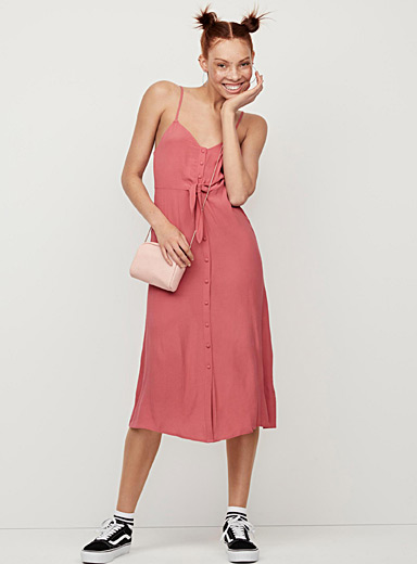 Buttoned accent-knot dress