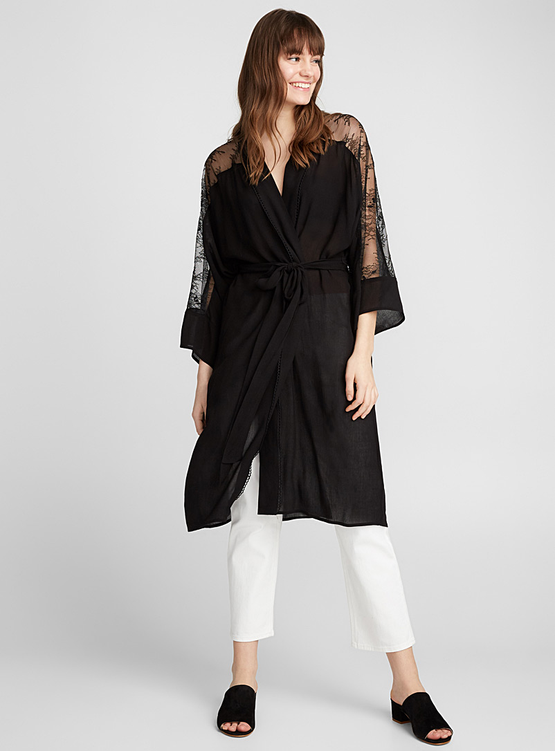 Lace-sleeve robe jacket - Blouses - Black