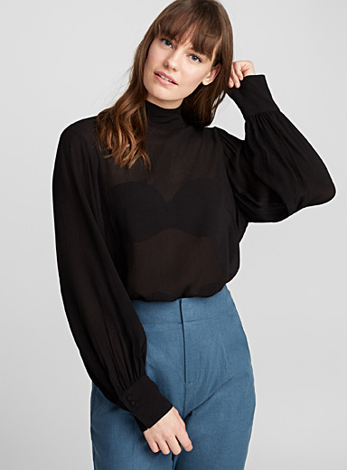 Pleated high-neck blouse